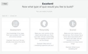 Pick your quiz type: assessment, personality, or scored