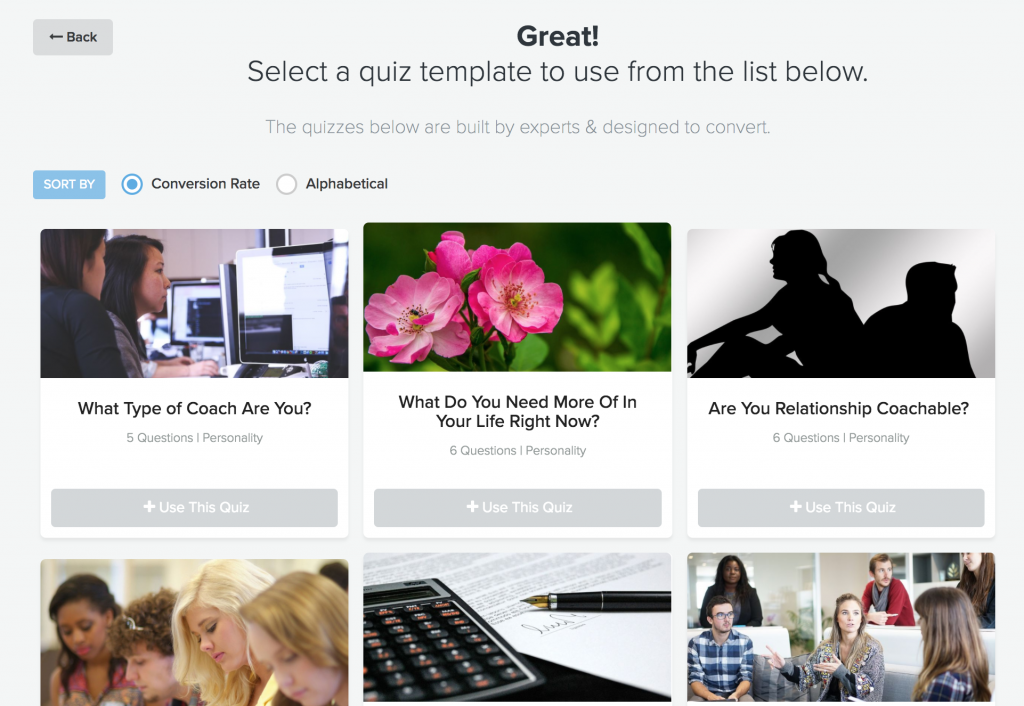 Select a quiz template to use from the Interact library