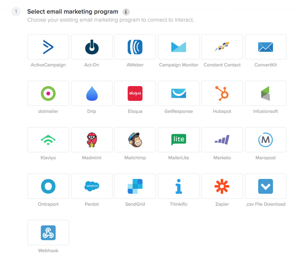 Email Platforms offered to work with Interact